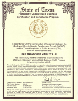 Historically Underutilized Business Certification (HUB)